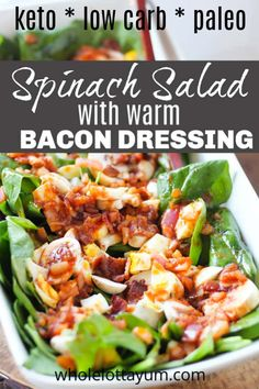 A low carb keto spinach salad with hot bacon dressing. You'll love this classic spinach salad with bacon and eggs, without the sugar. This easy keto salad is also paleo, low carb, dairy free and gluten free. Keto Foods, Ketogenic Recipes, Keto Meal, Bacon Spinach Salad, Spinach Salad Recipes, Potluck Dishes, Keto Side Dishes, Paleo Potluck, Healthy Recipes