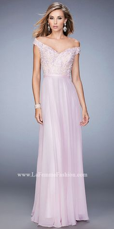 Chiffon Embroidered Off The Shoulder Prom Gown By La Femme