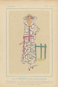 Anonymous   Très Parisien, 1923, No. 3: Tissus de Meurice....Reine-des-Prés, Anonymous, J. Meurice & Cie, G-P. Joumard, 1923   Stoffen van Meurice. Jurk van bedrukte zijde met bloemmotief. De soepelheid van deze tafzijde komt tot uitdrukking in de voorzijde van de rok. garnering van linten in de taille, op de mouwen en lijfje. Accessoire: hoed met brede rand. Prent uit het modetijdschrift Très Parisien (1920-1936).