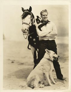 NELSON EDDY, his Horse BLACKIE & Dog WOLF Original CANDID Photo PORTRAIT 1930's