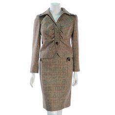 Valentino Brown Tweed 2-Piece Skirt Suit - $349.99
