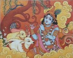 An exquisite Mural painting of Gopa. Saree Painting, Kerala Mural Painting, Tanjore Painting, Krishna Painting, Indian Art Paintings, Krishna Art, Fabric Painting, Bal Krishna, Krishna Lila