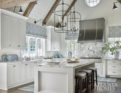 Tour a house that is the perfect blend of old and new on Design Chic today, link in bio. Image via Atlanta Homes & Lifestyles… Kitchen Furniture, Kitchen Decor, Kitchen Ideas, Kitchen Inspiration, Kitchen Designs, Modern Furniture, Wrought Iron Light Fixtures, Mason Jars, Atlanta Homes