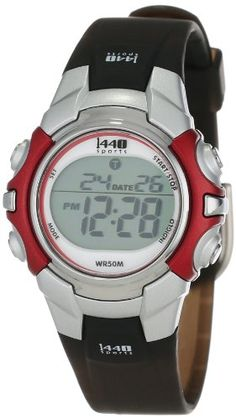 Timex Unisex T5G841 1440 Sports Digital Silver-Tone/Black Resin Strap Watch Large