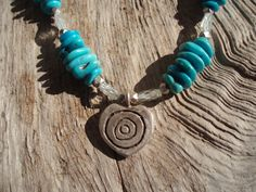 Turquoise aquamarine & fine silver necklace by kudzupatch on Etsy
