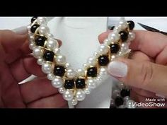 "- Learn how to make a Beaded Necklace ""Sky"" with this free step by step tutorial. Pearl Bracelet, Beaded Necklace, Beaded Bracelets, Decorating Flip Flops, Baby Hair Bands, Beading Needles, Beaded Sandals, Beading Techniques, Beaded Jewelry Patterns"