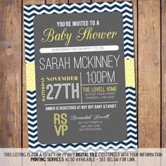 Chevron Baby Shower Invitation with polka dots, mod Baby Shower Invite gender neutral navy yellow and grey baby shower Invites (item162a) on Etsy, $15.00