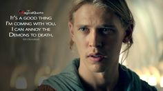 #WilOhmsford: It's a good thing I'm coming with you. I can annoy the Demons to death.  More on: http://www.magicalquote.com/series/the-shannara-chronicles/ #TheShannaraChronicles