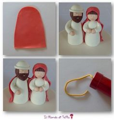 This simple cake design tutorial explains how to make a Thun nativity scene . Christmas Themed Cake, Christmas Cake Designs, Christmas Topper, Christmas Decorations, Christmas Ornaments, Polymer Clay Ornaments, Polymer Clay Christmas, Cake Decorating Courses, Cake Decorating Techniques