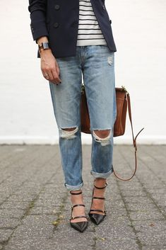 cute outfit - stripy ankle heels, distressed boyfriend jeans, striped tee, navy blazer, bracelet/watch, and cognac tote!