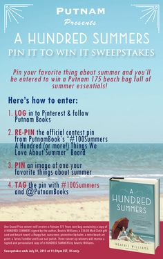 This is the official #contest pin for the A HUNDRED SUMMERS #Pin It to #Win It Sweepstakes; re-pin to be entered to win! Click through for more details. #100Summers #pinittowinit #pintowin