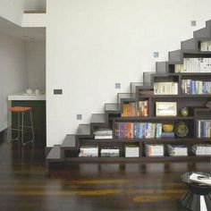 open stairway with shelves