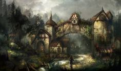 A mist village, greeimm Bae on ArtStation at https://www.artstation.com/artwork/zkAo4