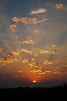 Backyard Sunset  #sunset #sky #sunbeams #clouds #nature
