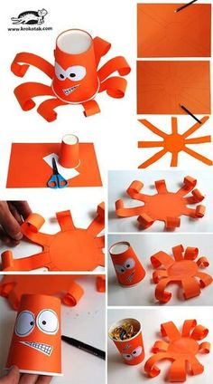 Paper cup octopus Source by atecanan Vbs Crafts, Crafts To Do, Diy Crafts For Kids, Arts And Crafts, Craft Ideas, Paper Cup Crafts, Paper Crafting, Paper Cups, Diy Niños Manualidades