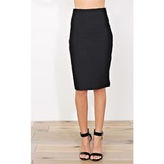 Bandage Midi Pencil Skirt ($20) ❤ liked on Polyvore featuring skirts, black, midi pencil skirt, fitted midi skirt, panel skirt, mid calf pencil skirt and bandage pencil skirt