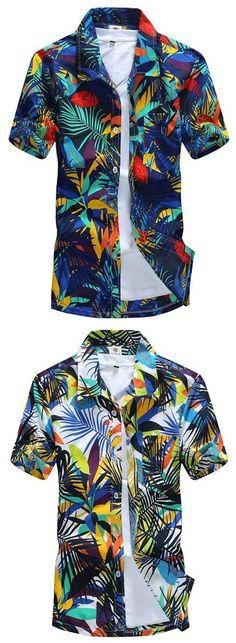 Mens Aloha Beach Floral Plus Size Quick Dry Loose Casual Hawaiian Shirts