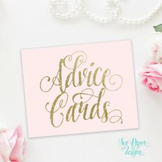 Blush Pink & Gold Glitter Advice Cards Sign - Bridal or Baby Shower Sign - Printable Instant Download - 8x10, 5x7 - Ava