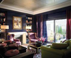Art deco room with deep purple, navy, gold, black