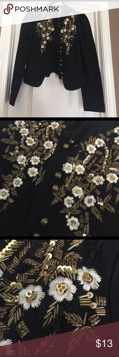 Beaded Black Jean Jacket NWT, black Jean jacket with gold and white beaded designs. Smoke free, pet free home. Jackets & Coats