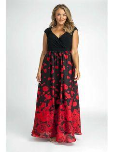Plus Size Maxi Dress in Rose Petals