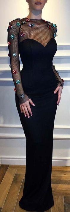 Trendy Black Mesh Long Dress for Prom