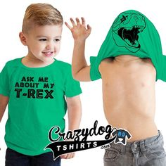 Flip the shirt over your head and your little one will turn in to a raging dinosaur! Green and Red are 100% cotton tees. Heather Gray is a Poly-Cotton Blend. #sassysteals  Link to deal in profile. #stealthis by sassysteals