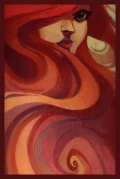 ritratto - donna - rossa - capelli - trucco