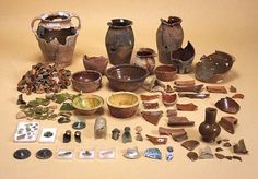 This large group of household objects, found in a garderobe pit on the Marks and Spencer site in Queen Street in 1979, is closely datable from its porcelain, stoneware,glass and single clay pipe to c. 1600. It is a crucial group for the understanding of the development of ceramics in SW England at this time