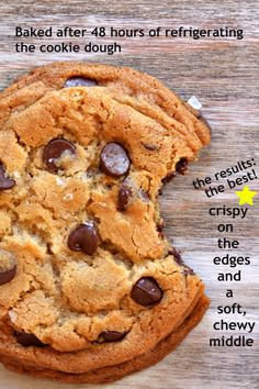New York Times Chocolate Chip Cookies Recipe ~ Says: The key to making them perfect is to take them out of the oven when they're golden brown on the edges and still look slightly doughy in the middle.  As they set on the cooling rack, they transform into the perfect cookie
