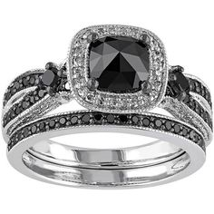 Black & White Diamond Halo Engagement Ring Set in Sterling Silver (1... ($674) ❤ liked on Polyvore featuring jewelry, rings, black, wedding band engagement ring, band rings, pave engagement rings, cushion cut ring and cushion cut wedding rings