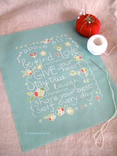 above all be kind stitch sampler and pillow by charlottelyons