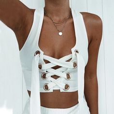 Sibybo Lace Up Halter Sexy Tops for Women Fashion U Collar Sleeveless Bandage Short Crop Top Women Slim Summer Tank Top Women - TakoFashion - Women's Clothing & Fashion online shop White Crop Top Tank, Lace Up Tank Top, Crop Top And Shorts, Cropped Tank Top, Crop Top Et Short, White Bralette, Summer Tank Tops, Women's Summer Fashion, Stylish Clothes