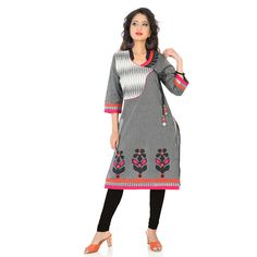 Grey colored A-line Kurti with Neon Bright Colored Block Print