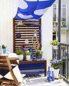 balcony summer decorating ideas nautical decors shade cloth blue