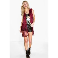 Boohoo Ava Fringed Suedette Festival Waistcoat ($30) ❤ liked on Polyvore featuring outerwear, vests, berry, white fringe vest, fringe vest, longline vest, waistcoat vest and white vest
