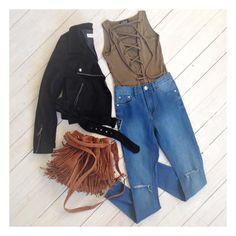 Jett Suede Biker, Gypsy Fringe Bag, Tie Me Up bodysuit, Faye Jeans. Shop @ Little-Lies.com #ootd