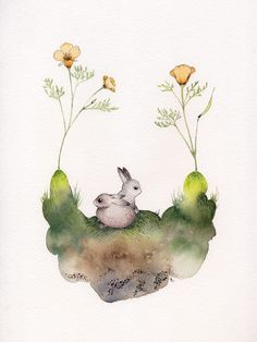 Bunnies ~ artist Gabrielle Rose; watercolor & ink.  She has a neat art blog:  drawgabbydraw.tumblr.com  #art #journaling #watercolor