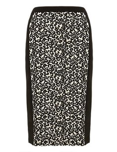 Animal Print Knee Length Pencil Skirt Clothing