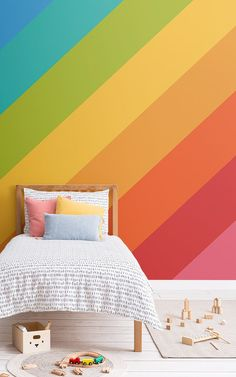 Create a space that reflects your unique style with this bold rainbow stripes wallpaper, perfect for modern bedrooms. Bright Wallpaper, Striped Wallpaper, Helle Wallpaper, Striped Accent Walls, Stripped Wall, Yellow Painting, Design Moderne, Modern Bedroom, My Room