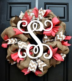 Spring Summer Burlap Vine Monogram Wreath in Coral, Brown, and White Chevron at thewreathshop.com