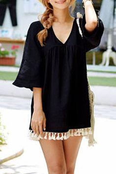 Stylish V-Neck 3/4 Sleeve Fringed Loose-Fitting Women's DressCasual Dresses | RoseGal.com