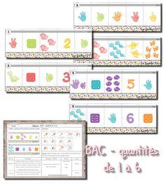 Voici une série de fiches pour les boites à compter de chez Nathan. Il y a une série de 1 à 3 , une de 4 à 6 et une dernière de 1 à 5. ...