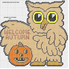 Welcome Autumn Owl Wall Hanging Plastic Canvas Christmas, Plastic Canvas Crafts, Plastic Canvas Patterns, Canvas Door Hanger, Wall Hanger, Halloween Canvas, Needlepoint Stitches, Needlework, Owl Patterns