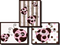 Set of 3 Mod Ladybugs Girls Bedroom Nursery by LittleMonkeyDoodles, $15.00