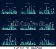 Vector - Arabian peninsula skylines line art style vector - stock illustration, royalty free illustrations, stock clip art icon, stock clipart icons, logo, line art, EPS picture, pictures, graphic, graphics, drawing, drawings, vector image, artwork, EPS vector art