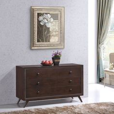 Modway Tracy Wood Dresser (Cappuccino), Brown, Size 3-drawer
