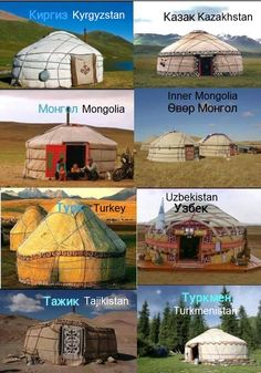 A traditional yurt or ger is a portable, round tent covered with felt and used as a dwelling by nomads. It was used in Central Asia for three thousand years.  Throughout the time Central Asian tribes and nationalities developed the ger to their own style and design. Here some of the images that shows how they differentiate from each other.