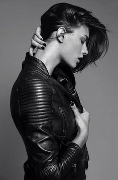 womens black leather jacket fashion style glam rock jewellery
