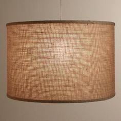 Natural Burlap Drum Floor Lamp Shade